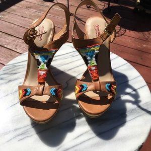 New Native Platform Wedge Beaded Sandals